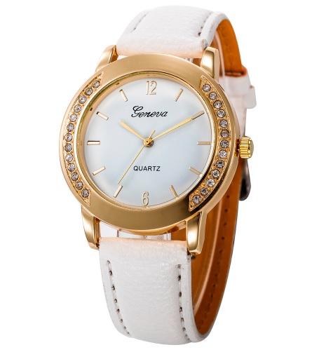 Dámske Geneva hodinky s kryštálikmi biele a1374a00397