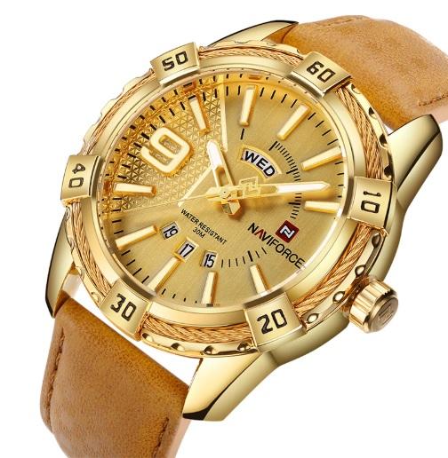 Pánske hodinky NF9117Z s kalendárom zlaté 1200b5ae830