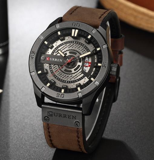 9f40c61cd89 PÁNSKE hodinky | Pánske hodinky C8301 s kalendárom tmavohnedé ...